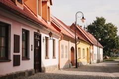Een mooie straat in de stad van Blatna in de Tsjechische Republiek royalty-vrije stock foto