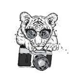 Een mooie tijger met een camera vector illustratie