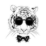 Een mooie tijgerwelp met glazen en een band Vectorillustratie voor een prentbriefkaar of een affiche, druk voor kleren en toebeho royalty-vrije illustratie