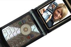 Een mooie Vrouw met telefoon Stock Foto