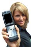 Een mooie Vrouw met telefoon Stock Afbeeldingen
