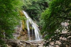 Een mooie waterval met duidelijk water die met stenen in het bos stromen royalty-vrije stock afbeelding