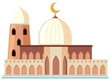 Een mooie witte moskee op witte achtergrond vector illustratie