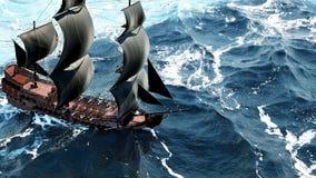 Een mooie zeilboot in de open oceaan het 3d teruggeven Stock Foto's