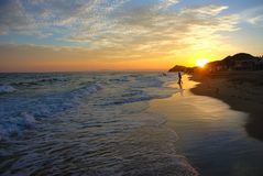 Een mooie zonsondergang op het strand van San Carlos Sonora royalty-vrije stock foto