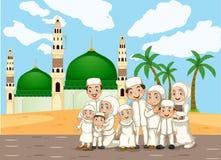 Een moslimfamilie voor moskee royalty-vrije illustratie