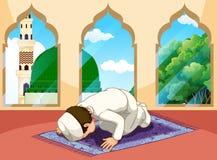 Een moslimmens bidt bij moskee stock illustratie