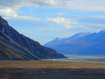 Een mountainscapemening dichtbij MT Cook, Nieuw Zeeland Stock Foto