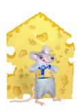 Een muis wordt gegeven door het stuk van kaas Royalty-vrije Illustratie