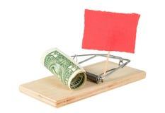 Een muisval met geld Stock Afbeeldingen