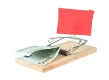 Een muisval met geld Stock Fotografie