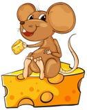 Een muiszitting boven een kaas Stock Afbeelding
