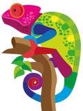 Een multi-colored kameleon zit op een boomtak en voegt samen met Royalty-vrije Stock Fotografie