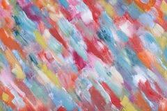 Een multicolored abstractie Slagen van de borstel op canvas Abstracte kunstachtergrond Origineel olieverfschilderij van een meest Royalty-vrije Stock Afbeeldingen