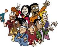 Een multicultureel en multi-etnisch divers team stock illustratie