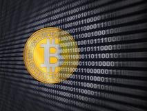 Een muntstuk van bitcoin Stock Afbeelding