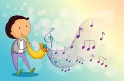 Een musicus met een trompet royalty-vrije illustratie