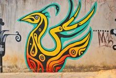 Een muurhoogtepunt van onwettige graffiti. Royalty-vrije Stock Foto's