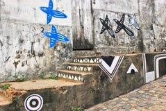 Een muurhoogtepunt van onwettige graffiti. Royalty-vrije Stock Fotografie
