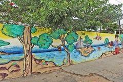 Een muurhoogtepunt van onwettige graffiti. Royalty-vrije Stock Foto