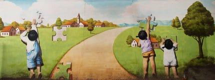 Een muurschilderij in Gamcheon-Cultuurdorp royalty-vrije stock fotografie
