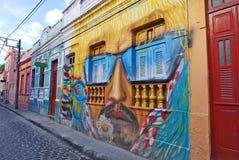 Een muurschilderij van een man hoofd met snor en zonnebril Royalty-vrije Stock Fotografie
