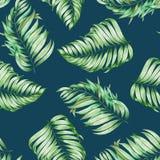 Een naadloos die patroon met de waterverftakken van de bladeren van een palm op een donkerblauwe (indigo) wordt geschilderd achte royalty-vrije illustratie