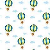Een naadloos ontwerp met grote drijvende ballons Stock Foto's