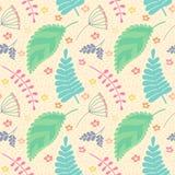 Een naadloos patroon met bladeren en bloemen stock illustratie