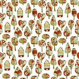 Een naadloos patroon met bomen, de achtergrond van het de herfstblad Royalty-vrije Stock Fotografie