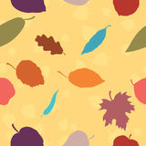 Een naadloos patroon met de herfstbladeren Stock Foto