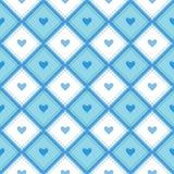 Een naadloos patroon met ruiten en harten Stock Foto