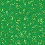 Een naadloos patroon met stukken van kweepeer en peer Stock Afbeeldingen