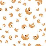 Een naadloos patroon met verschillende grootte van croissants Stock Afbeelding