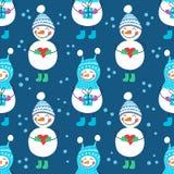 Een naadloos patroon van sneeuwmannen Stock Afbeelding