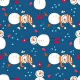 Een naadloos patroon van sneeuwmannen Stock Fotografie