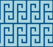 Een naadloze die patroon of een grens van Keltische die knopen wordt gemaakt in een s-vormkromme worden gelegd, vectorillustratie Stock Afbeeldingen