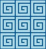 Een naadloze die patroon of een grens van Keltische die knopen wordt gemaakt in spiraalvormige, vectorillustratie met de wijzers  Royalty-vrije Stock Afbeeldingen
