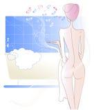 Een naakt meisje na douche Stock Afbeelding