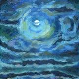 Een nachthemel met kleurrijke wolken en een volle maan vector illustratie