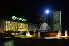 Een nachtmening in Astana Royalty-vrije Stock Afbeelding