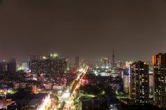 Een nachtmening van het dak van een huis in Guangdong, China royalty-vrije stock fotografie
