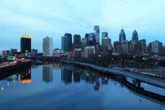 Een Nachtmening van het de Stadscentrum van Philadelphia Royalty-vrije Stock Fotografie