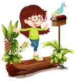 Een nerdmeisje en een vogel royalty-vrije illustratie
