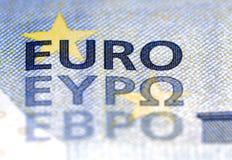 Een nieuw Euro bankbiljet 5 met het toegevoegde Bulgaarse EBPO-schrijven Royalty-vrije Stock Fotografie