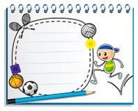Een notitieboekje met een tekening van kind het springen stock foto 39 s beeld 30350013 - Lay outs ruimte van de jongen ...
