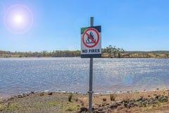 Een Nr steekt waarschuwingsbord op een de zomerdag met in brand lensgloed Stock Afbeelding