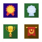 Een Olympische medaille voor de eerste plaats, een kristallen bol, een gouden kop op een tribune, een rode tegenhanger Geplaatste Royalty-vrije Stock Foto's