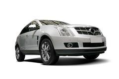 Een onafhankelijke witte statische SUV op witte achtergrond Stock Foto