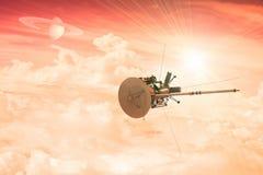 Een onbemand ruimtevaartuig die de atmosfeer van een verre planeet ingaan Royalty-vrije Stock Afbeeldingen